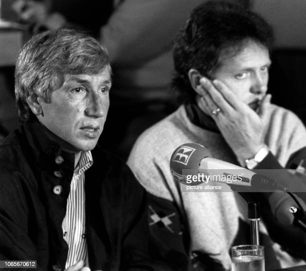 Willi Entenmann and Arie Haan during a presentation of Entenmann as the new head coach of the club of the following season on 7th May 1991 in...
