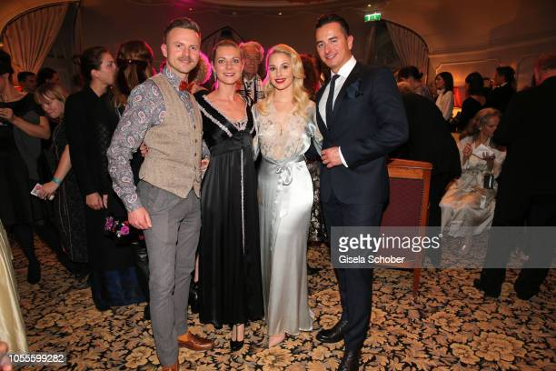 Willi Gabalier and his wife Christiana Gabalier and fashion designer Silvia Schneider and her boyfriend Andreas Gabalier during the presentation of...