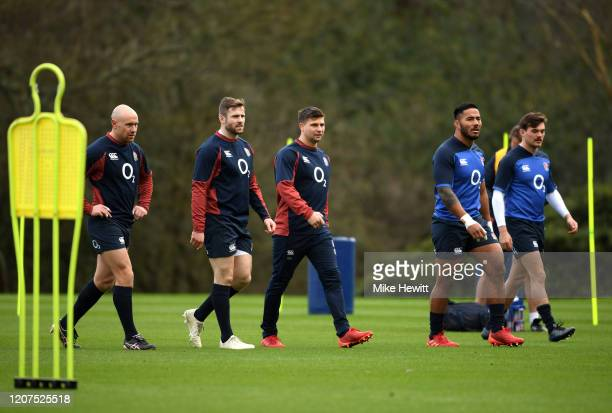 Willi Heinz Elliot Daily Ben Youngs Manu Tuilangi and George Furbank during an England Media Access Day at Pennyhill Park on February 20 2020 in...
