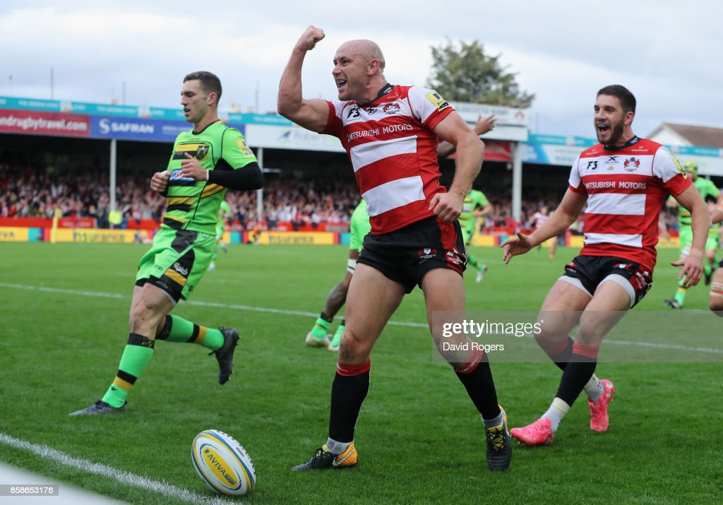 Willi Heinz of Gloucester celebrates after scoring their fifth try during the Aviva Premiership match between Gloucester Rugby and Northampton Saints at Kingsholm Stadium on October 7, 2017 in Gloucester, England.