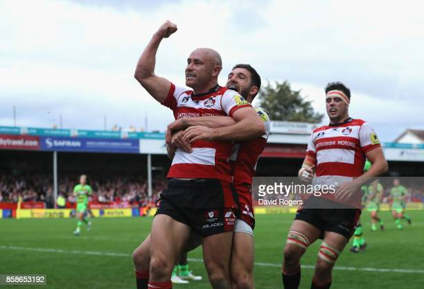 Willi Heinz of Gloucester celebrates after scoring their fifth try during the Aviva Premiership match between Gloucester Rugby and Northampton Saints...