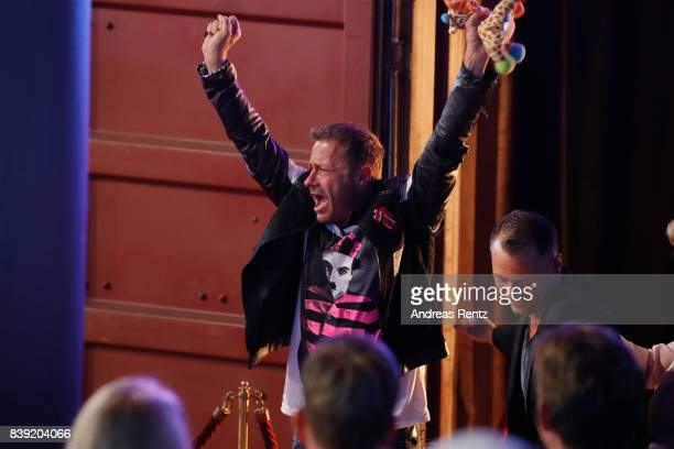 Willi Herren gestures during the finals of 'Promi Big Brother 2017' at MMC Studio on August 25 2017 in Cologne Germany