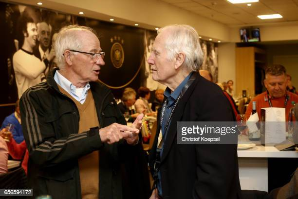 Willi Neuberg and Hans Tilkowski pose during the Club of Former National Players Meeting at Signal Iduna Park on March 22 2017 in Dortmund Germany