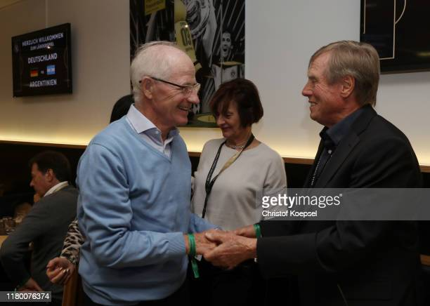 Willi Neuberger and Siggi Held attend the Club Of Former National Players Meeting at Signal Iduna Park on October 09, 2019 in Dortmund, Germany.