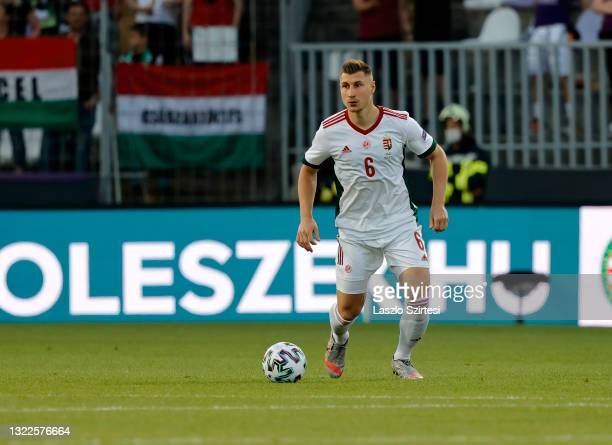 Willi Orban of Hungary controls the ball during the International Friendly match between Hungary and Republic of Ireland at Szusza Ferenc Stadion on...