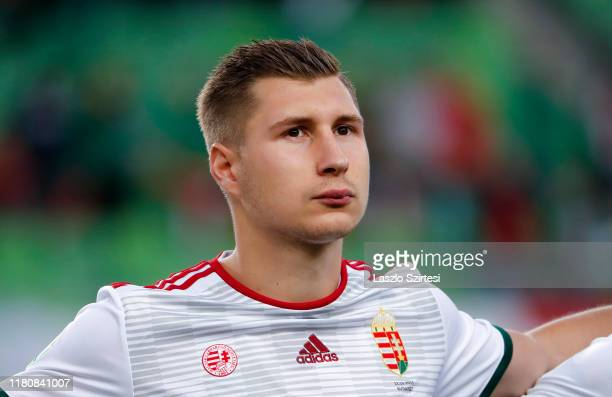 Willi Orban of Hungary listens to the anthem prior to the 2020 UEFA European Championships group E qualifying match between Hungary and Azerbaijan at...