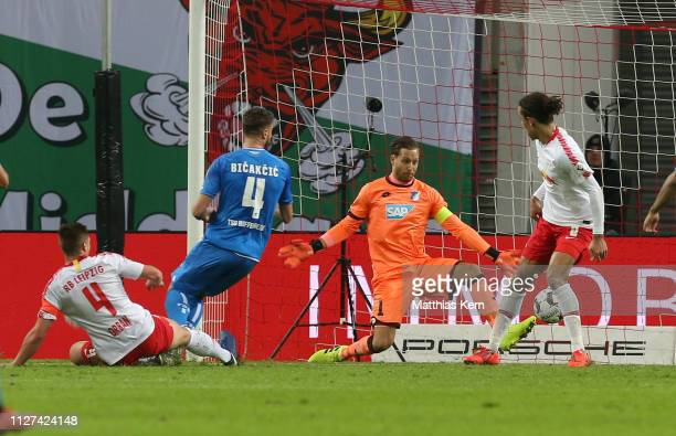 Willi Orban of Leipzig scores his teams first goal during the Bundesliga match between RB Leipzig and TSG 1899 Hoffenheim at Red Bull Arena on...