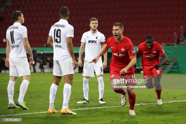 Willi Orban of RB Leipzig celebrates after scoring their team's first goal during the DFB Cup second round match between FC Augsburg and RB Leipzig...