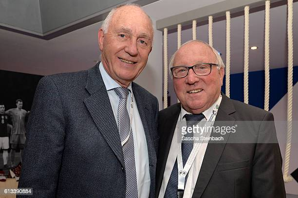 Willi Schulz and Uwe Seeler attend the Club Of Former National Players Meeting during the 2018 FIFA World Cup Qualifier between Germany and Czech...
