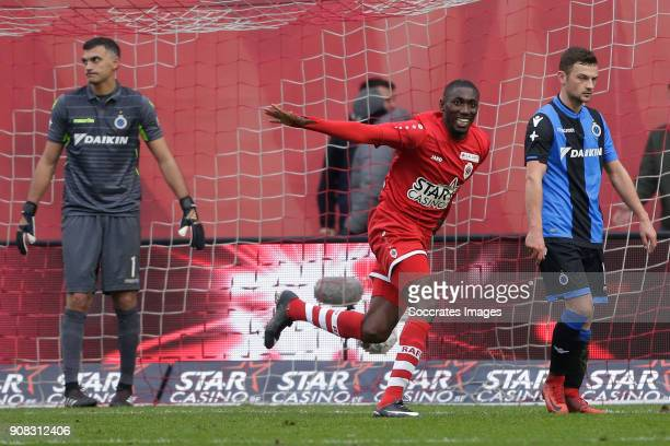 William Acheampong Owusu of Royal Antwerp FC celebrates 22 during the Belgium Pro League match between Royal Antwerp v Club Brugge at the Bosuil...