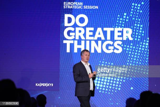 William Aird,Head of F&A Europe of Kaspersky Lab speaks during the Kaspersky Lab European Strategic Session on March 11, 2019 in Split, Croatia.