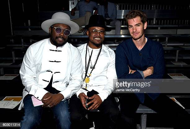 william and apldeap of Black Eyed Peas and actor Andrew Garfield attend the Opening Ceremony fashion show Front Row during New York Fashion Week at...