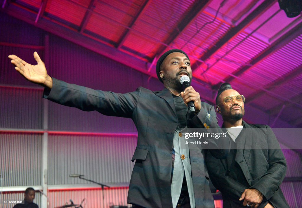 will.i.am (L) and apl.de.ap of Black Eyed Peas perform onstage at will.i.am's i.am.angel Foundation TRANS4M 2018 Gala, Honoring Sean Parker, Chairman, Parker Institute for Cancer Immunotherapy at Milk Studios on February 20, 2018 in Hollywood, California.