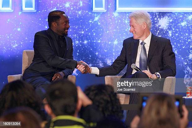 william and former President Bill Clinton attend WillIAm's annual TRANS4M Day Conference focusing on TRANS4Ming America in 2013 on February 7 2013 in...