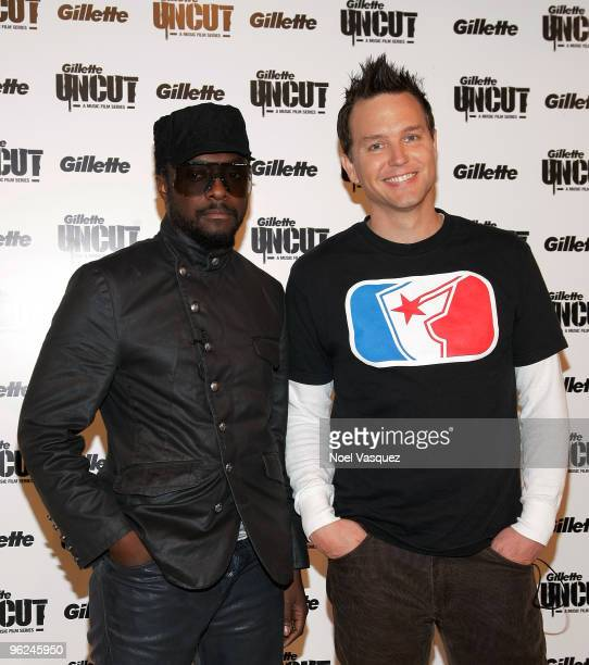 willIam and Mark Hoppus attend the premiere screening of Gillette's UNCUT film series at the Grammy Museum on January 28 2010 in Los Angeles...