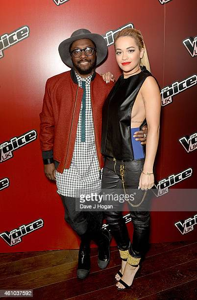 """Will.I.Am and Rita Ora attend the launch of """"The Voice UK"""" Series 4 at The Mondrian Hotel on January 5, 2015 in London, England."""