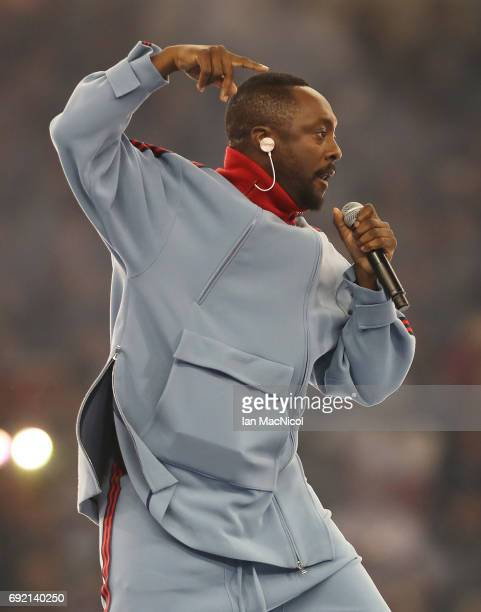 William and The Black Eyed Peas perform during the UEFA Champions League Final between Juventus and Real Madrid at National Stadium of Wales on June...