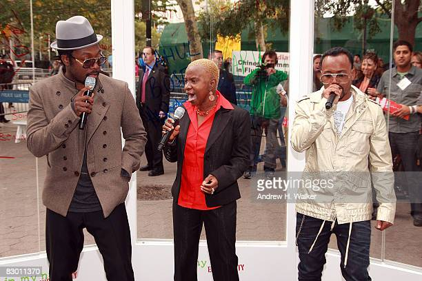 William Angelique Kidjo and apldeap perform at the launch of the In My Name global campaign at Dag Hammarskjold Plaza on September 25 2008 in New...