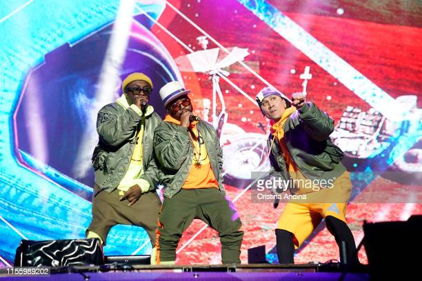 Will.i.am, apl.de.ap, and Taboo of The Black Eyed Peas perform during the second day of Son do Camino Festival on June 14, 2019 in Santiago de...