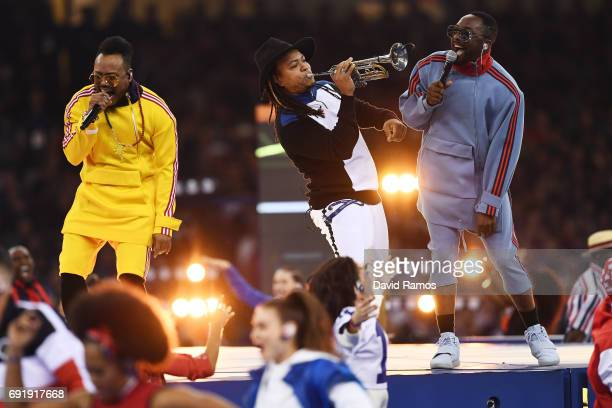 william apldeap and Taboo of The Black Eyed Peas perform prior to the UEFA Champions League Final between Juventus and Real Madrid at National...