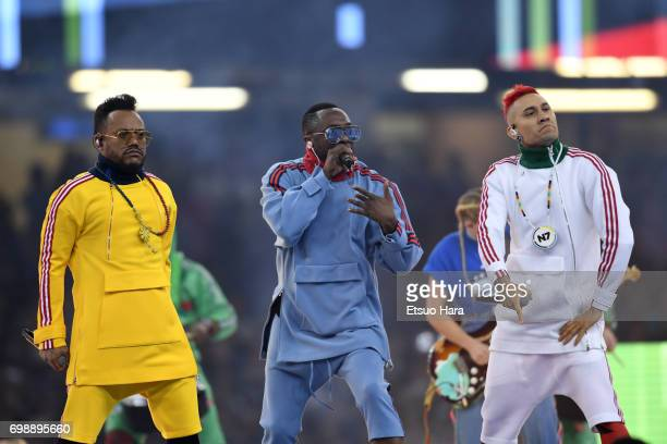 william apldeap and Taboo of The Black Eyed Peas perform prior to the UEFA Champions League final match between Juventus and Real Madrid at National...