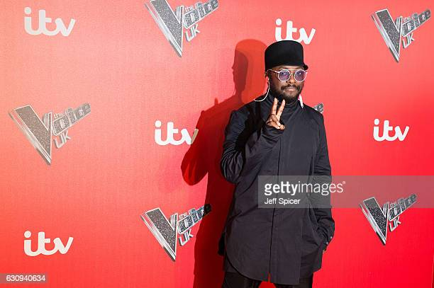 WillIAm arrives for the press launch of The Voice UK at Millbank Tower on January 4 2017 in London England