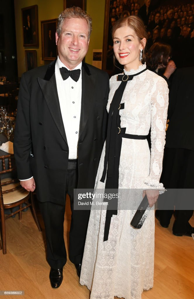William Asprey, William & Son founder, and Rosamund Pike attend the Portrait Gala 2017 sponsored by William & Son at the National Portrait Gallery on March 28, 2017 in London, England.