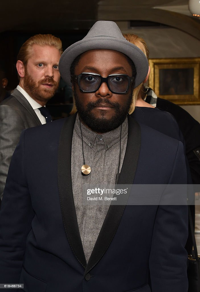 Will.i.am attends a private dinner at Mr Chow hosted by will.i.am and brother Carl Gilliam to celebrate the launch of their luxury sneaker collection MCCVIII (TWELVEOEIGHT) at Harrods on October 26, 2016 in London, England.