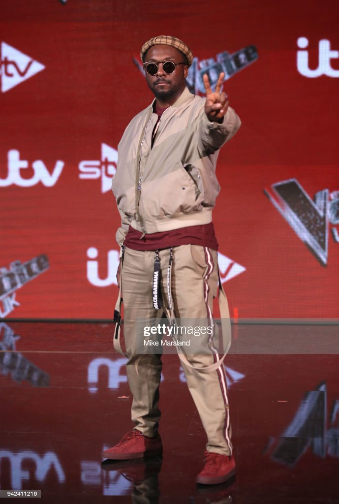 will.i.am attends the pre-final event for 'The Voice' at Elstree Studios on April 5, 2018 in Borehamwood, England.