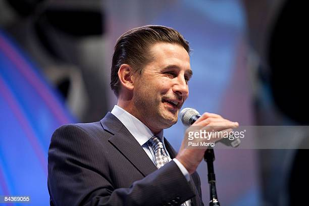William Baldwin speaks at the Creative Coalition's Students Inaugural Program at the Cole Field House at the University of Maryland on January 19...