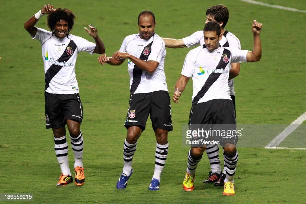 William Barbio Alecsandro Juninho and Diego Souza of Vasco celebrate a scored goal againist Flamengo during the semifinal match as part of Rio State...
