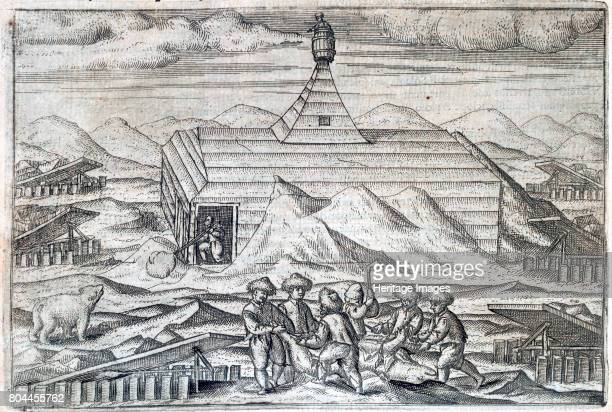 William Barents' Arctic expedition 15961597 Members of the crew killing and skinning bears outside the cabin in which the expedition wintered Barents...
