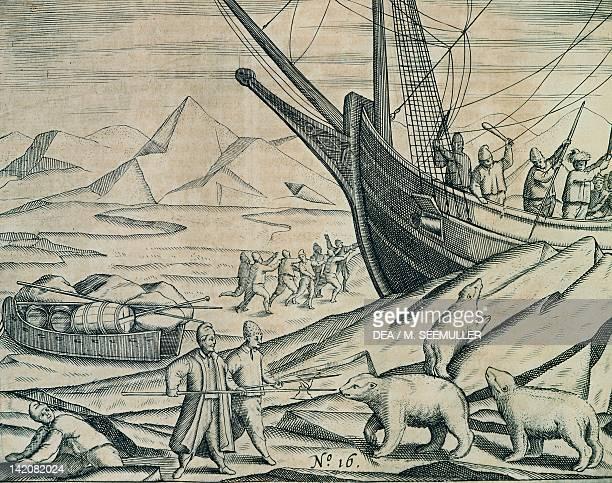 William Barents or Willem Barentsz's expedition to Spitsbergen engraving from Barents Travels