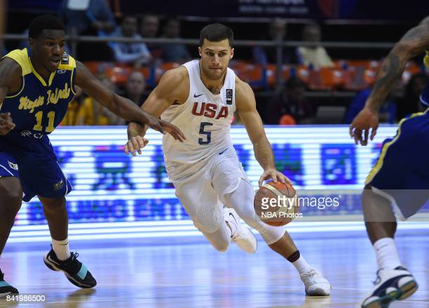 William Baron of United States fights for the ball with Deon Edwin of Virgin Islands during the FIBA Americup semi final match between US and Virgin...