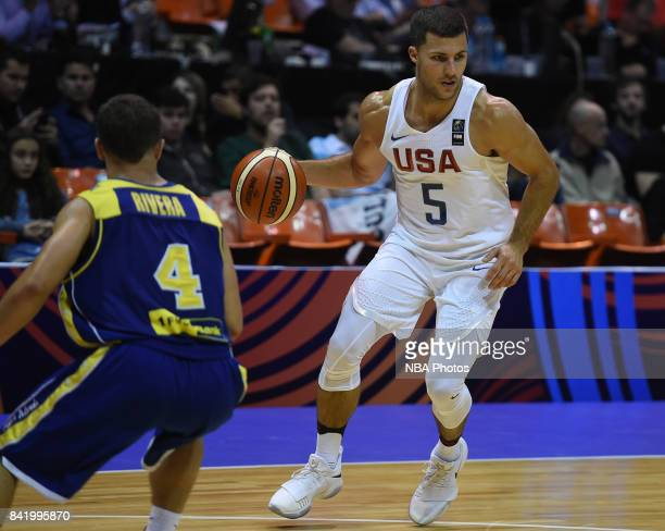 William Baron of United States handles the ball during the FIBA Americup semi final match between US and Virgin Islands at Orfeo Superdomo arena on...