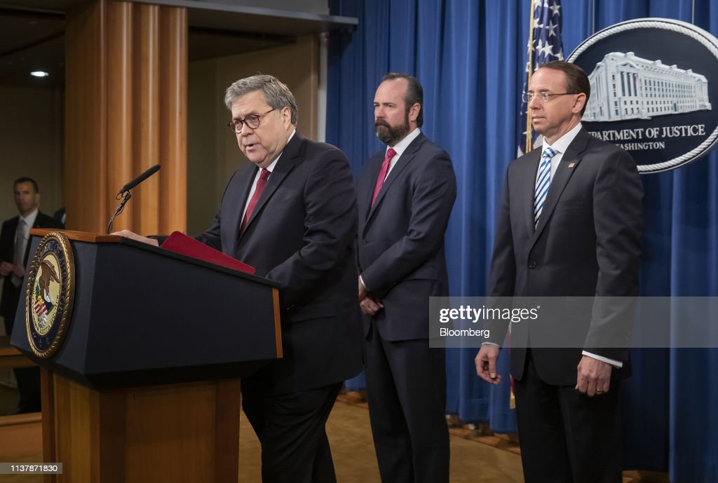 DC: Attorney General Barr And Deputy AG Rosenstein Hold News Conference On Mueller Report