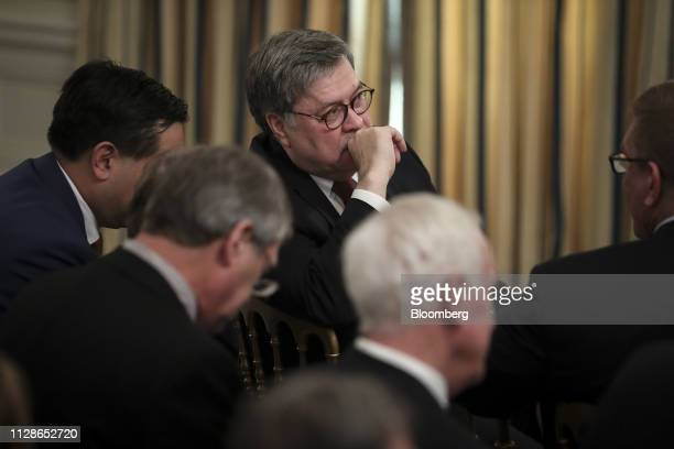William Barr US attorney general listens during a National Association of Attorneys General event with US President Donald Trump not pictured in the...