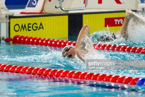 William Bell in action during the men's open 1500 metres freestyle last heat during Day 3 of the 2019 British Swimming Championships at Tollcross...