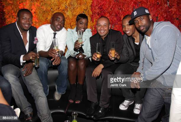 William Benson guest Singer Estelle Daniel Dejene AJ Crimson and NY Jets Cornerback Darrelle Revis attend The Dejene Agency launch party at...
