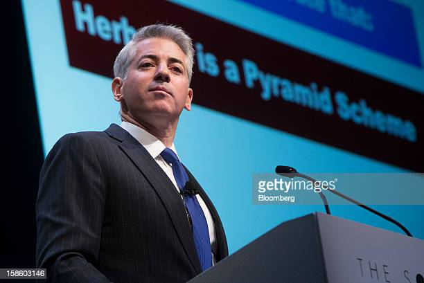 """William """"Bill"""" Ackman, founder and chief executive officer of Pershing Square Capital Management LP, pauses while speaking in front a screen..."""