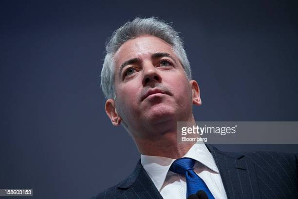 """William """"Bill"""" Ackman, founder and chief executive officer of Pershing Square Capital Management LP, pauses while speaking during a presentation in..."""