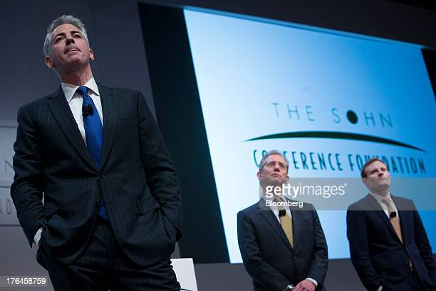 """William """"Bill"""" Ackman, founder and chief executive officer of Pershing Square Capital Management LP, left, speaks during a presentation in New York,..."""