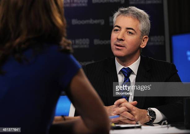 William Bill Ackman founder and chief executive officer of Pershing Square Capital Management LP speaks during a television interview at the Robin...