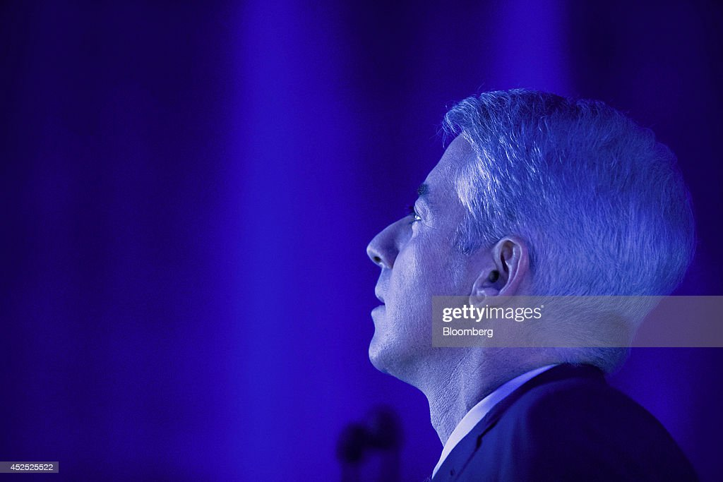 William 'Bill' Ackman, founder and chief executive officer of Pershing Square Capital Management LP, speaks during an event in New York, U.S., on Tuesday, July 22, 2014. Herbalife Ltd. shares fell the most in three months yesterday after billionaire Ackman vowed to show Enron Corp.-like fraud at the seller of supplements and weight-loss shakes. Photographer: Jin Lee/Bloomberg via Getty Images