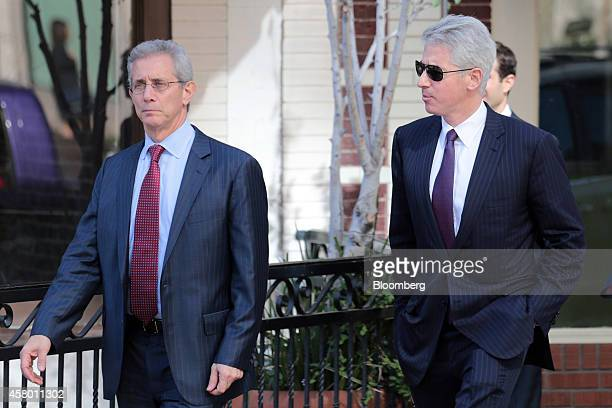 """William """"Bill"""" Ackman, founder and chief executive officer of Pershing Square Capital Management LP, right, arrives at the federal court in Santa..."""