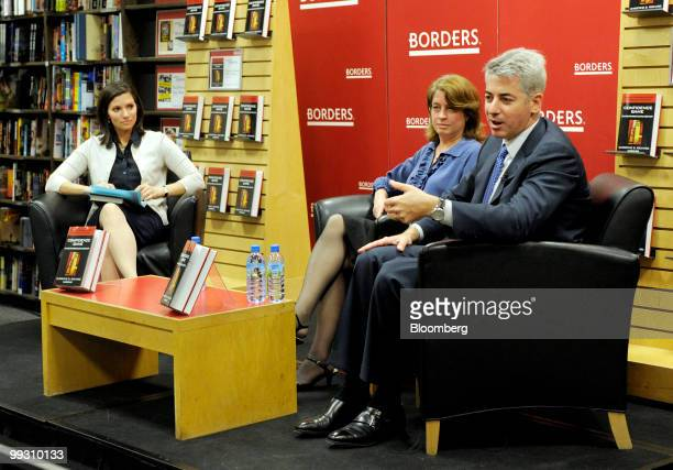 """William """"Bill"""" Ackman, founder and chief executive officer of Pershing Square Capital Management LP, right, speaks with author Christine Richard,..."""