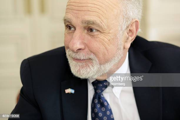 William 'Bill' Baer principal deputy associate attorney general at the US Department of Justice listens during an interview at Palacio San Martin in...