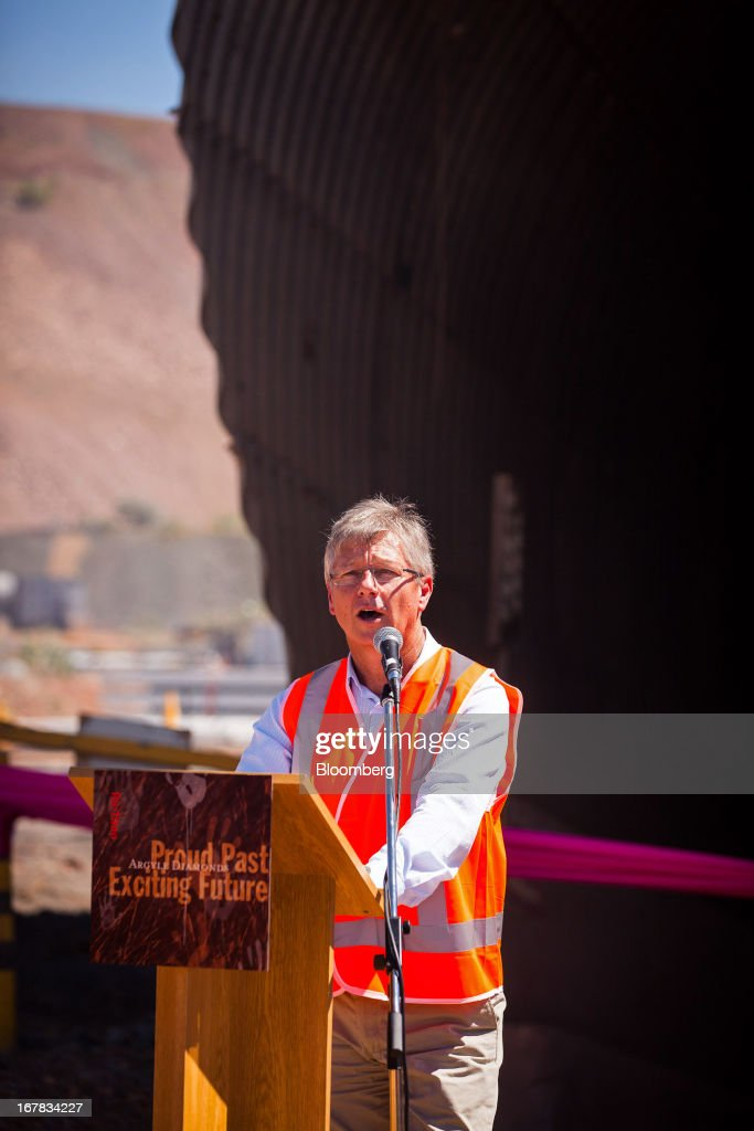 William 'Bill' Marmion, Western Australia's minister for mines and petroleum, speaks during the opening ceremony of Rio Tinto Group underground expansion of the Argyle diamond mine in Kimberley, Australia, on Tuesday, April 30, 2013. Production at Argyle, which supplies more than 90 percent of the world's pink diamonds, will rise to 20 million carats annually as production moves underground, while costs will fall. Photographer: Ian Waldie/Bloomberg via Getty Images