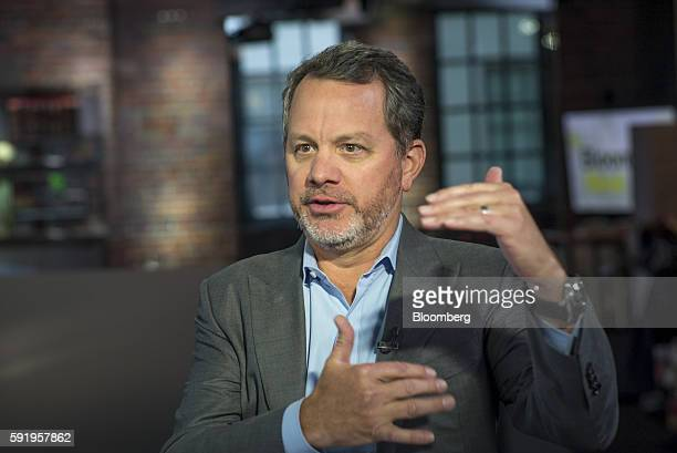 William Bill McGlashan founder and managing partner of TPG Growth LLC speaks during a Bloomberg West television interview in San Francisco California...