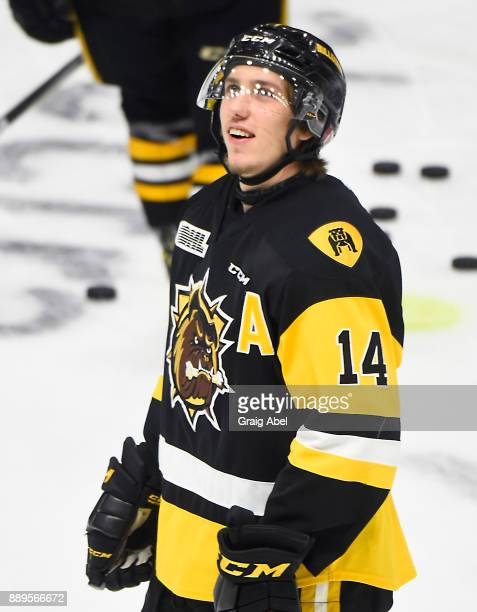 William Bitten of the Hamilton Bulldogs skates in warmup prior to a game against the Mississauga Steelheads on December 10 2017 at Hershey Centre in...
